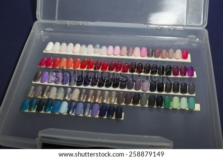 New York, NY - February 16, 2015: Nail samples by Morgan Taylor on display backstage for Angel Sanchez fashion show during Mercedes-Benz Fashion Week Fall 2015 at Lincoln Center - stock photo