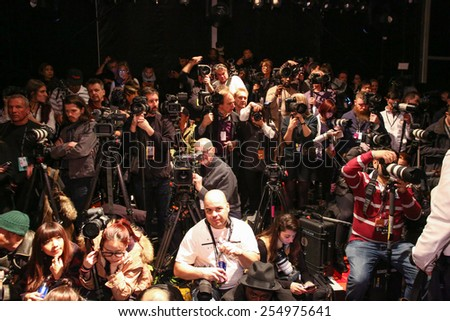 NEW YORK, NY - FEBRUARY 15: Photographers getting ready frontstage at the FTL Moda fashion show during MBFW Fall 2015 at The Salon at Lincoln Center on February 15, 2015 in NYC.