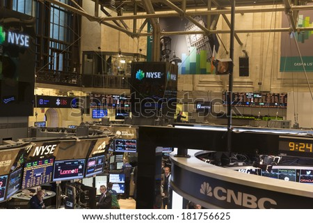 NEW YORK, NY - FEBRUARY 14, 2014: View of the trading floor of New York Stock Exchange - stock photo