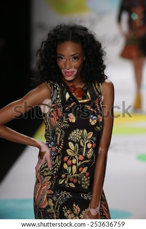 NEW YORK, NY - FEBRUARY 12: Winnie Harlow walks the runway at the Desigual fashion show during Mercedes-Benz Fashion Week Fall 2015 at Lincoln Center on February 12, 2015 in New York City.  - stock photo