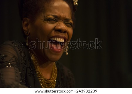 New York, NY - January 10, 2015: Catherine Russell performs at Greenwich House Music School as part of Winter Jazz Festival in Manhattan