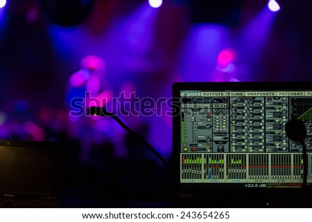 New York, NY - January 09, 2015: Control panel view during Kneebody + Daedelus play at Le Poisson Rouge as part of Winter Jazz Festival in Manhattan - stock photo