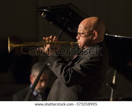 New York, NY - January 14, 2016: Eddie Henderson plays trumpet at charity concert Jazz Legends for Disability Pride during Winter Jazz festival at Quaker Friends Meeting Hall
