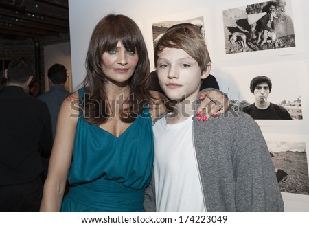 NEW YORK, NY - JANUARY 30, 2014: Helena Christensen & son attend Luxury collection hotels & resorts exhibition 'VISUAL JOURNEY PERU' by Helena Christensen to benefit Oxfam at Bleecker Street Arts Club