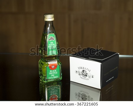 New York, NY - January 22, 2016: Olive oil and truffle samples by Urbani Truffles company on display at Reception with Crown Prince of Italy Emanuele Filiberto di Savoia at Hudson Rooftop Terrace - stock photo