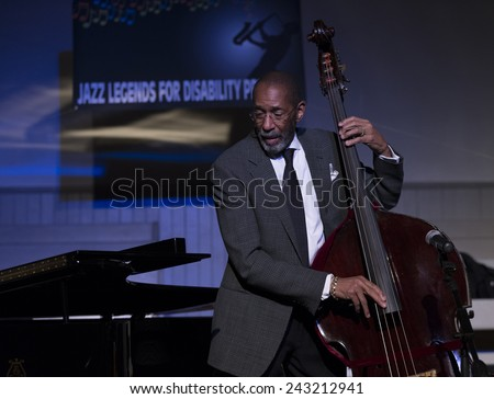 New York, NY - January 08, 2015: Ron Carter plays as part of Ron Carter trio at Jazz Legends for Disability Pride concert at Quaker Friends Meeting House in Manhattan