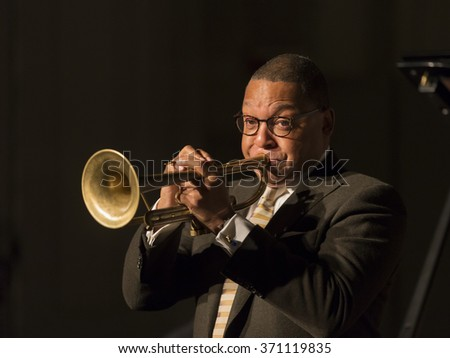 New York, NY - January 14, 2016: Wynton Marsalis plays trumpet at charity concert Jazz Legends for Disability Pride during Winter Jazz festival at Quaker Friends Meeting Hall - stock photo