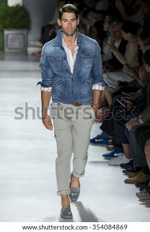 NEW YORK, NY - JULY 15, 2015: Chad White walks at Michael Bastian Runway at New York Fashion Week Men's Spring Summer 2016 at Skylight Clarkson Sq