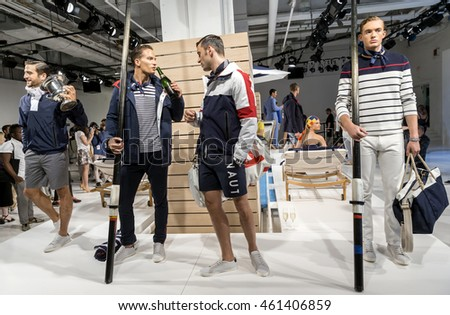 NEW YORK, NY - JULY 13, 2016: Models pose at the Nautica Men's S/S 2017 fashion presentation during New York Fashion Week Men's