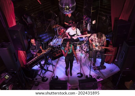 NEW YORK, NY - JUNE 30, 2014: Khadia performs at Broadway Sings For Pride benefit concert at Toshi's Living Room at The Flatiron Hotel