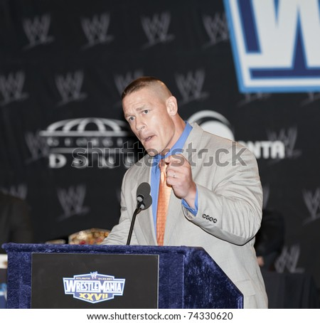 NEW YORK, NY - MARCH 30: WWE Superstar John Cena attends the WrestleMania XXVII press conference at Hard Rock Cafe New York on March 30, 2011 in New York City.
