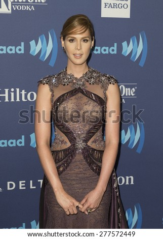 New York, NY - May 9, 2015: Carmen Carrera attends 26th Annual GLAAD Media Awards at Waldorf Astoria - stock photo