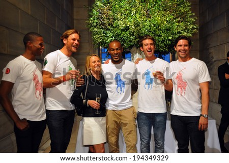 NEW YORK, NY - MAY 19: Cast of Matilda musical  poses with models at the Ralph Lauren Fall 14 Children's Fashion Show in Support of Literacy at New York Public Library on May 19, 2014 in NYC. - stock photo