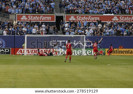 New York, NY - May 15, 2015: Chicago Fire scores first goal during the game between New York City Football Club and Chicago Fire FC at Yankee Stadium - stock photo