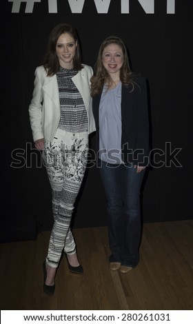 NEW YORK, NY - MAY 21, 2015: Coco Rocha and Chelsea Clinton attend Internet Week New York 2015 at Metropolitan Pavilion - stock photo