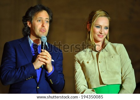 NEW YORK, NY - MAY 19: David Lauren and Uma Thurman making a speech at the Ralph Lauren Fall 14 Children's Fashion Show in Support of Literacy at New York Public Library on May 19, 2014 in NYC