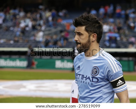 New York, NY - May 15, 2015: David Villa of NYCFC poses befor the game between New York City Football Club and Chicago Fire FC at Yankee Stadium - stock photo
