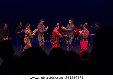 NEW YORK, NY - MAY 23 2015: Flamenco VIvo Carlota Santana dancers Guadalupe Torres, Isaac Tovar; Antonio Hidalgo, Alice Blumenfeld, Eliza Llewellyn perform on stage at Brooklyn Academy of Music Fisher - stock photo