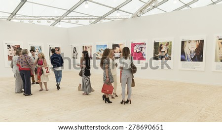 NEW YORK, NY - MAY 14, 2015: General atmosphere on first day of Frieze Art Fair on Randall's Island at booth by Gagosian gallery - stock photo
