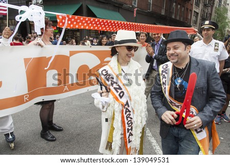 NEW YORK, NY - MAY 18: Grand Marshals of New York Dance Parade Jacqulyn Buglisi  and Louie Vega are ready to cut ribbon to start 7th New York Dance Parade on May 18, 2013 in New York City.