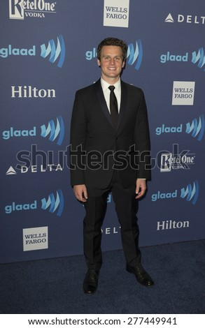 New York, NY - May 9, 2015: Jonathan Groff attends 26th Annual GLAAD Media Awards at Waldorf Astoria - stock photo