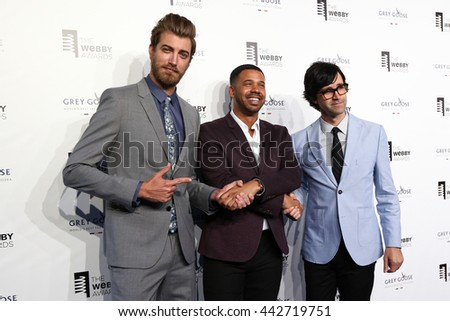 "NEW YORK, NY - MAY 18:  (L-R) Rhett James Maclaughlan, Iman Crosson and Charles Lincoln ""Link"" Neal III attend the 19th Annual Webby Awards at Cipriani Wall Street on May 18, 2015 in New York City. - stock photo"