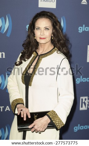 New York, NY - May 9, 2015: Lynda Carter attends 26th Annual GLAAD Media Awards at Waldorf Astoria - stock photo