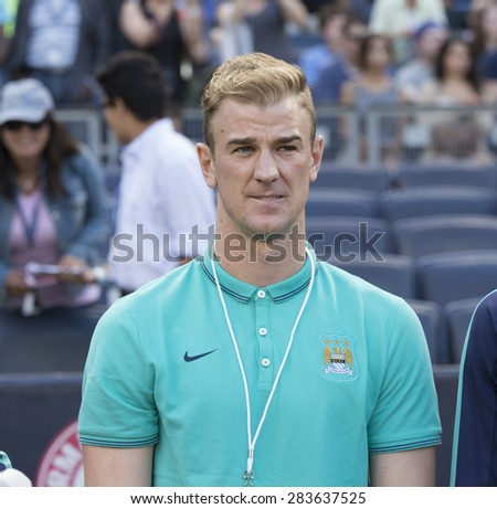 New York, NY - May 30, 2015: Manchester City FC Player Joe Hart attends game between New York City Football Club and Houston Dynamo at Yankee Stadium - stock photo