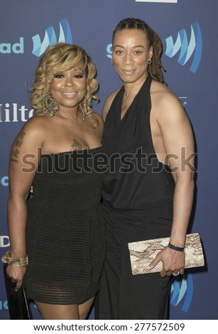 New York, NY - May 9, 2015: Monifah Carter and Terez Mychelle attend 26th Annual GLAAD Media Awards at Waldorf Astoria - stock photo