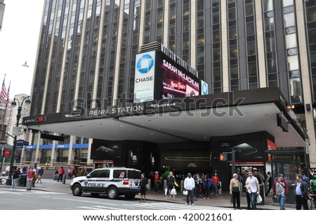 NEW YORK, NY - MAY 3: Pennsylvania Station in New York City, as seen on May 3, 2014. Serving more than 600,000 passengers a day, it is the busiest passenger transportation facility in North America. - stock photo