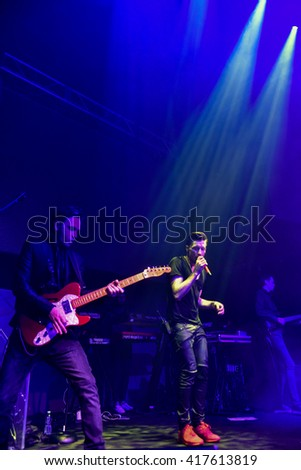 NEW YORK, NY - MAY 06: Russian singer Dima Bilan perform on the stage during his American concert tour at Stage 48 on May 06, 2016 in New York City. - stock photo