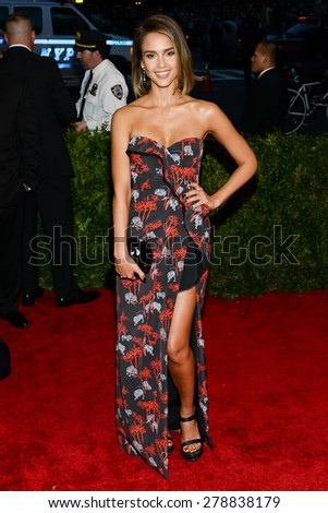 New York, NY  Monday May 04, 2015: Jessica Alba attends 'China: Through The Looking Glass' Costume Institute Gala, held at the Metropolitan Museum of Art in New York City, New York. - stock photo