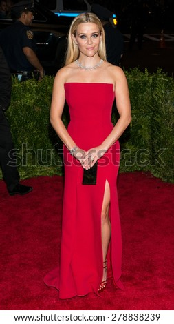 New York, NY  Monday May 04, 2015: Reese Witherspoon attends 'China: Through The Looking Glass' Costume Institute Gala, held at the Metropolitan Museum of Art in New York City, New York. - stock photo