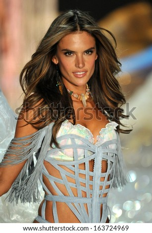 NEW YORK, NY - NOVEMBER 13: Model Alessandra Ambrosio walks the runway at the 2013 Victoria's Secret Fashion Show at Lexington Avenue Armory on November 13, 2013 in New York City.  - stock photo