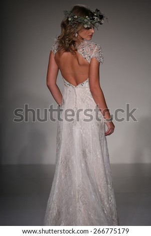 NEW YORK, NY - OCTOBER 11: A model walks runway at Sottero and Midgley fashion show during Fall 2015 Bridal Collection on October 11, 2014 in NYC.  - stock photo