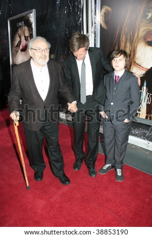 """NEW YORK, NY - OCTOBER 13: Author Maurice Sendak (L), Director Spike Jonze (C) and Actor Max Records (R)  attends the """"Where the Wild Things Are"""" premier on October 13, 2009 in New York City. - stock photo"""