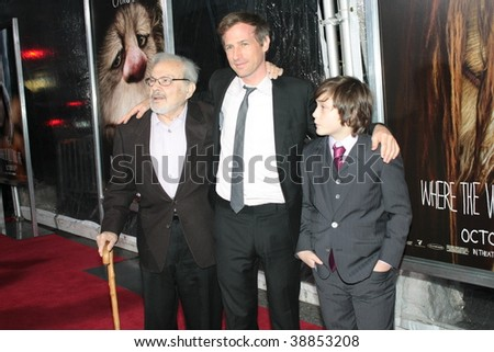 "NEW YORK, NY - OCTOBER 13: Author Maurice Sendak (L), Director Spike Jonze (C) and Actor Max Records (R)  attends the ""Where the Wild Things Are"" premier on October 13, 2009 in New York City."