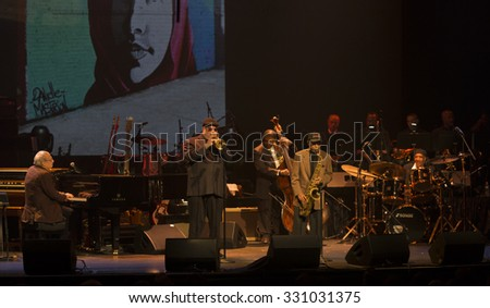 New York, NY - October 22, 2015: Donald Fagen, Randy Brecker, Jimmy Heath preform during Great NIght in Harlem fundraising concert for Jazz Foundation of America at Apollo theater - stock photo