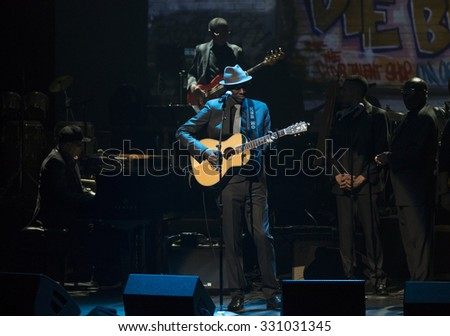 New York, NY - October 22, 2015: Keb Mo performs during Great NIght in Harlem fundraising concert for Jazz Foundation of America at Apollo theater - stock photo