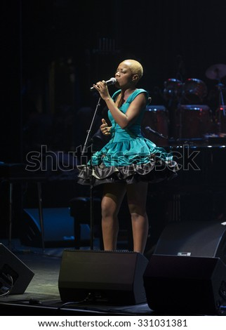 New York, NY - October 22, 2015: Kimberly Nichole performs during Great NIght in Harlem fundraising concert for Jazz Foundation of America at Apollo theater