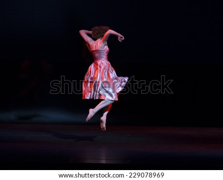 New York, NY - October 20, 2014: Megan Williams performs on stage Bijoux by Mark Morris during the 2014 Bessies Awards at The Apollo Theater