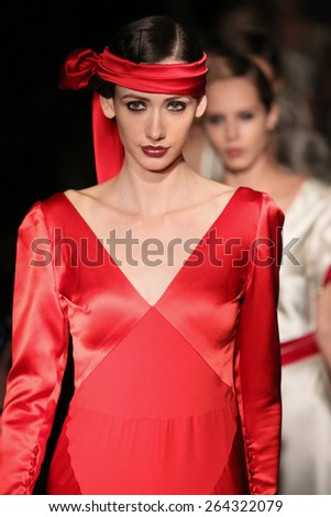 NEW YORK, NY - OCTOBER 09: Models walks runway at Johanna Johnson runway Show during Fall 2015 Bridal Collection on October 09, 2014 in NYC.