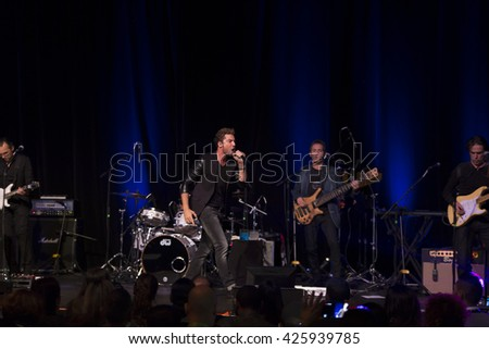 New York, NY - October 23, 2014: Singer David  Bisbal performs on stage at Latin Grammy Acoustic Sessions at Broad Street Ballroom