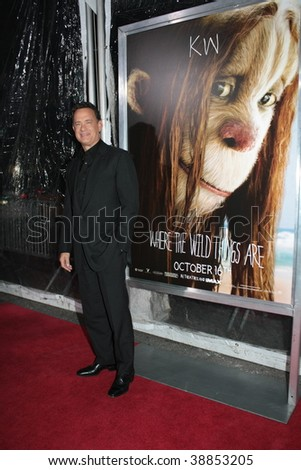 """NEW YORK, NY - OCTOBER 13: Tom Hanks attends the """"Where the Wild Things Are"""" premier on October 13, 2009 in New York City. - stock photo"""