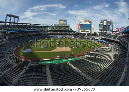 New York, NY - October 22, 2017: View of Citi Field before MLS regular game between NYC FC and Columbus Crew SC at Citi Field Game ended in draw 2 - 2