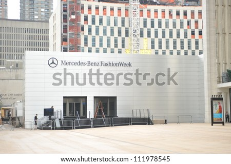 NEW YORK, NY - SEPTEMBER 04 :  A front entrance at tents during Mercedes-Benz Fashion Week at Lincoln Center on September 04, 2012 in New York City. - stock photo
