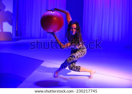 NEW YORK, NY - SEPTEMBER 03: A Model performs during the Athleta  Runway show during Mercedes-Benz Fashion Week Spring 2015 at SIR Stage on September 3, 2014 in NYC - stock photo