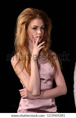 NEW YORK, NY - SEPTEMBER 07: A model poses at the Malan Breton Spring 2014 Fashion Presentation during Mercedes-Benz Fashion Week at Lincoln Center in New York City on September 7, 2013. - stock photo