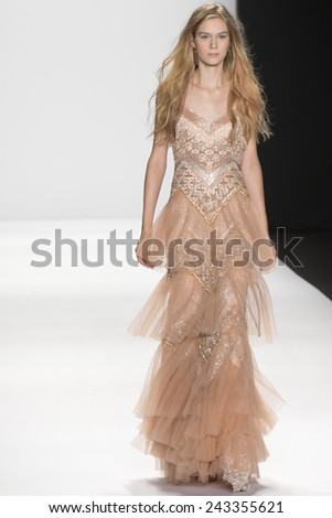 New York, NY - September 9, 2014: A model walks the runway at Badgley Mischka show during Mercedes-Benz Fashion Week Spring 2015 at The Theatre at Lincoln Center - stock photo
