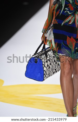 NEW YORK, NY - SEPTEMBER 04: A model walks the runway at Desigual during Mercedes-Benz Fashion Week Spring 2015 on September 4, 2014 in New York City.
